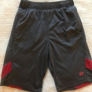 Russell Charcoal Grey/Red Dri-power 360 Shorts